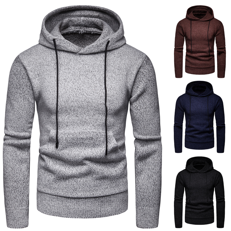 Men Sweater  2019 New Fashion Trend Men's Solid Color Hooded Pullover Knitwear Hooded Sweater Coat