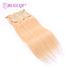 BUGUQI Hair Clip In Human Extensions Peruvian #22 Remy 16- 26 Inch 100g Machine Made