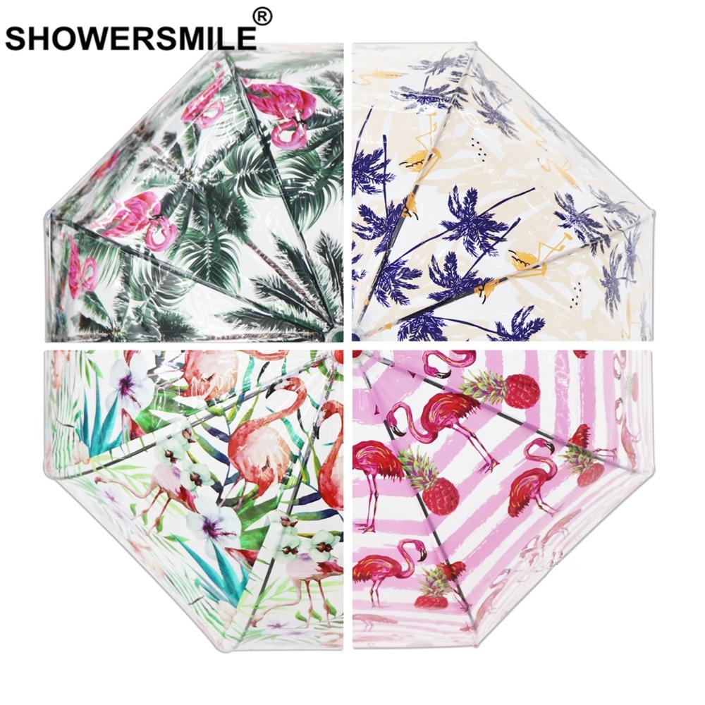 Showersmile chuva transparente guarda-chuva claro feminino flamingo impressão verde ver através do guarda-chuva de alça longa pendurado apollo parasol