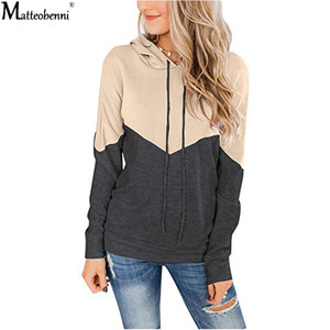 2020 Autumn Sweatshirt Women Fashion Street Contrast Color Patchwork Hoodie Casual Loose Long Sleeve Pullover Ladies Hooded Tops