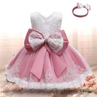1st vestido de cumpleaños para las muchachas del bebé de Navidad de encaje princesa vestido niño chico Bowknot vestidos de tutú bebé recién nacido traje de Año Nuevo
