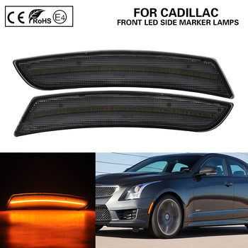 2Pcs ATS CTS CTS-V 15-19 Front Bumper Amber LED Side Marker Light Auto Lights Smoked Lens for Cadillac image