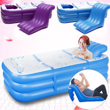 165x85x45cm Blue Large Size Inflatable Bath Bathtub SPA PVC Folding Portable For Adults With Air Pump Household Inflatable Tub(China)