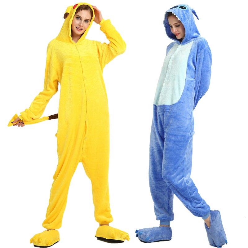 Image 2 - Adult Unicorn Pikachu Kigurumi Onesies Flannel Pajamas Family Party Halloween Animal Stitch Pijamas
