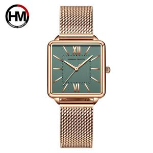 Japan Quartz Movement Green Dial Roman Square Watches Case Stanless Steel Fashion Wristwatch Ladies Rose Gold Watches For Women