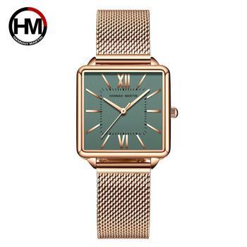 Japan Quartz Movement Green Dial Roman Square Watches Case Stanless Steel Fashion Wristwatch Ladies Rose Gold For Women