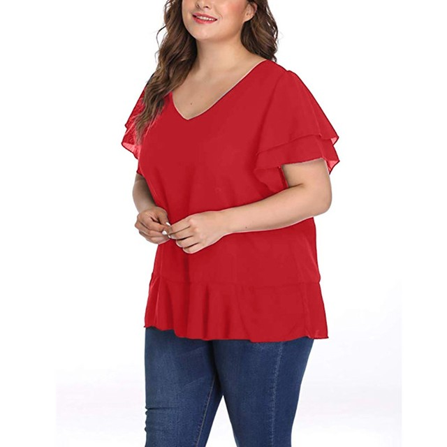 Womens Tops And Blouses Solid Plus Size Short Sleeve V Neck Shirt Ruffle Sleeve Blouse Ladies Tops Casual Chemise Femme#3 3