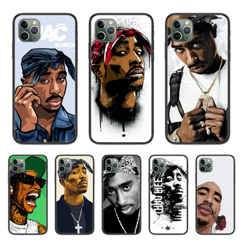 2Pac Makaveli Rap Phone Case cover For Iphone 11 7 8 XR 5 5C 5S 6 6S PLUS X XS PRO SE 2020 MAX black Etui trend shell painting image