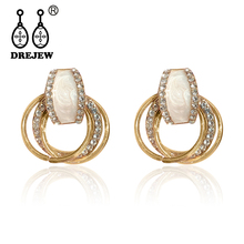 DREJEW 2019 Fashion Small Geometric Circle Gold Silver Rose Statement Earrings 925 Alloy Vintage Hoop for Women HE544