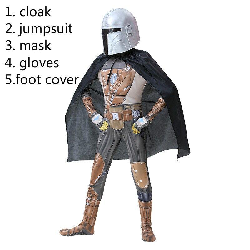 Костюм для косплея Мандалора из фильма «Звездные войны», Детский комбинезон для мальчиков и девочек, костюм на Хэллоуин, вечерний костюм, маска, плащ, полный комплект| |   | АлиЭкспресс