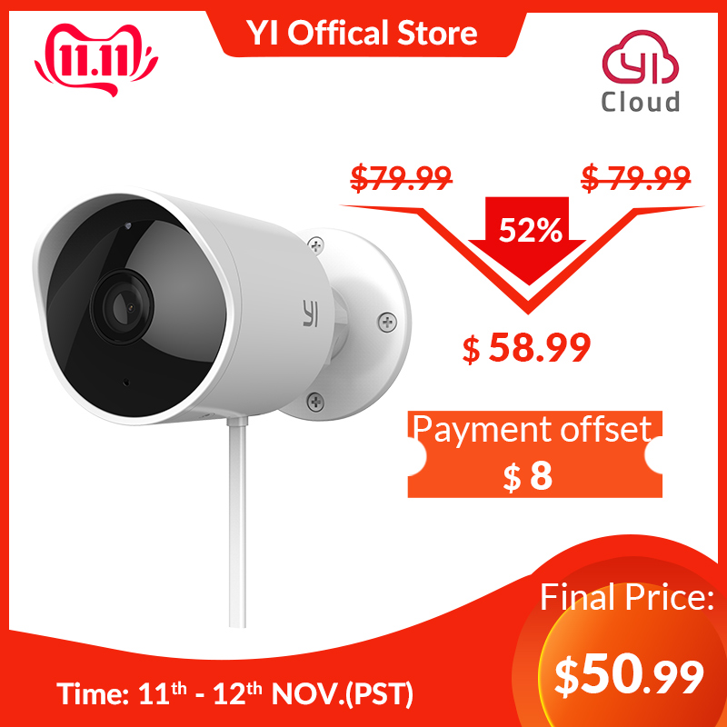YI Outdoor Security Camera SD Card Slot &Cloud IP Cam Wireless 1080p Waterproof Night Vision Security Surveillance System White-in Surveillance Cameras from Security & Protection