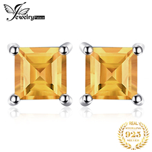 2015 New Princess Cut 0.6ct Citrine 925 Solid Sterling Silver Fashion Women Dazzling Earrings Stud Free Shipping