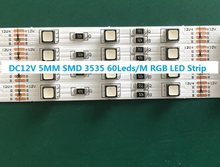 5M/rool DC12V SMD 3535 LED RGB luz de Tira, 60led/m,14 W/m, super Brilhante fino 5 MILÍMETROS FPBC IP33 moistureproof RGB levou fita luz de tira