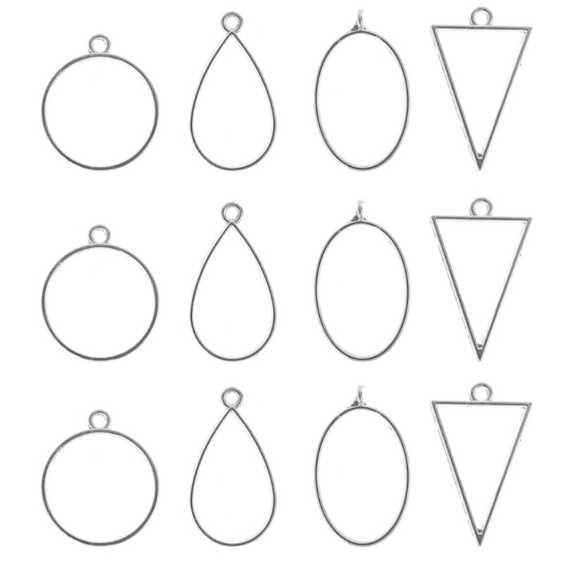 12 Pcs/set Epoxy Border Geometric Hollow Pendant Frame DIY Resin Crafts Necklace Bracelet Jewelry Accessories