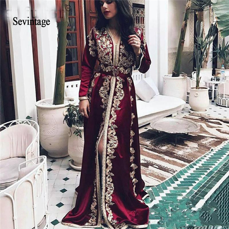 Sevintage Burgundy Moroccan Kaftan Muslim Evening Dress Long Sleeves Lace Appliques Velvet Dubai Arabic Prom Gowns Abendkleider