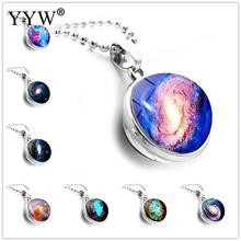 Unisex Time Gem Jewelry Fashion Glass Ball Planet Earth Pendant Necklace Women Vintage Sweater Chain