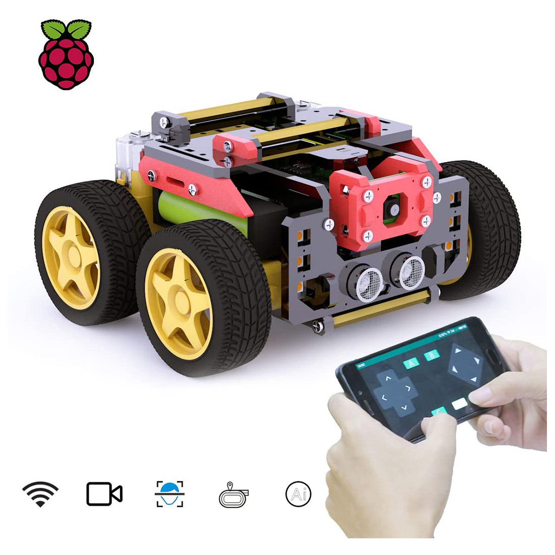 Adeept AWR 4WD WiFi DIY Smart Robot Car Kit with OpenCV Target Track Real-Time Video Transmission for Raspberry Pi4/3 Model B+/B