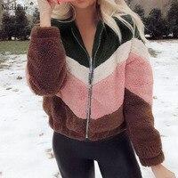 Nadafair PinkBlack Patchwork Casual Teddy Coat Women Plush Winter Faux Fur Jacket Coat Female Fluffy Overcoat