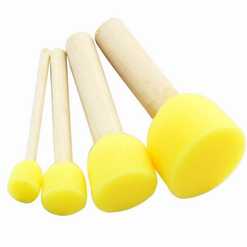 4PCS/Set Fun Doodle Brushes Wooden Handle Yellow Sponge Brush Seal Paint Brush Kids DIY School Office Supply