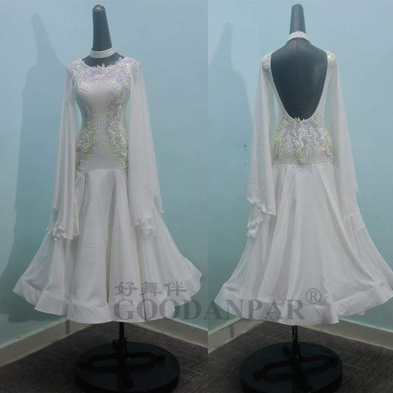 Ballroom Dancing Dress Newest Design Woman Modern Waltz Tango Dance Dress Standard  Sexy Dress White Long Sleeve