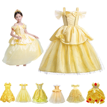 New Dress 2020 for Girls Belle Princess Party Dress The Beauty and The Beast Cosplay Costumes Kids Birthday Carnival Fancy Dress kids birthday halloween party gift new child boy deluxe star wars the force awakens storm troopers cosplay fancy dress kids hall