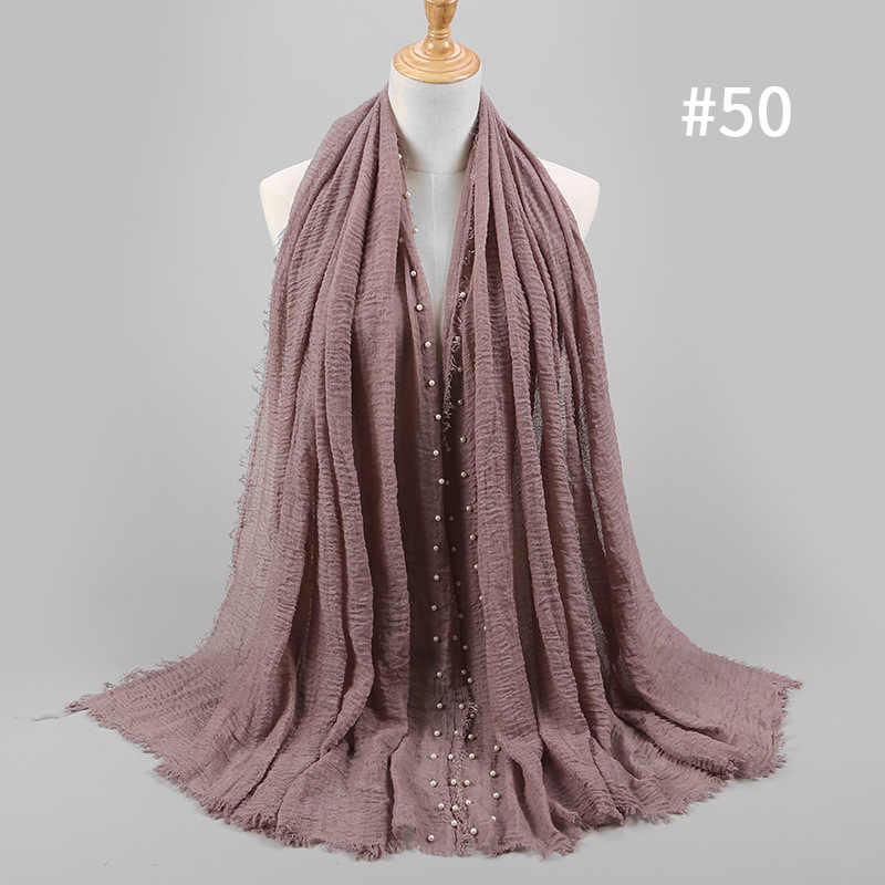 ผู้หญิงธรรมดา Hijab ผ้าพันคอหญิงฟองฝ้ายตอก Pearl Headscarf Wrap Fringe Crumple ผ้าพันคอมุสลิม/ผ้าพันคอขนาดใหญ่ผ้าคลุมไหล่