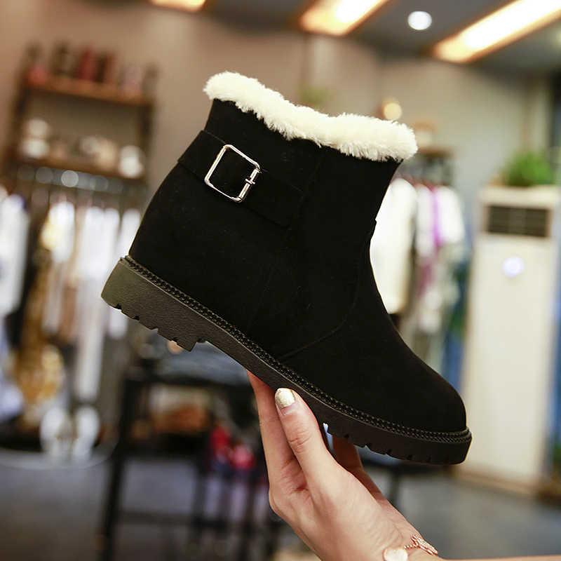 รองเท้าผู้หญิงขนาด 35-40 รองเท้าบู๊ทหิมะหนา Plush ฤดูหนาวรองเท้า Weman ข้อเท้ารองเท้าบู๊ตหญิงรองเท้าสบายๆฤดูหนาว botas Mujer