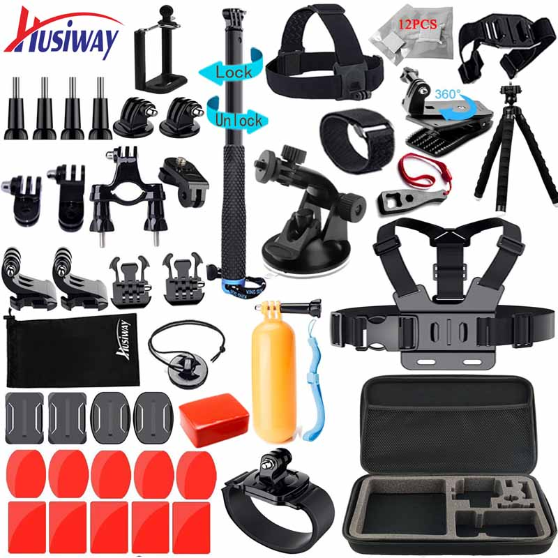 Husiway Accessories Kit For Gopro Hero 7 6 5 4 3 Session Set For Xiaoyi 4K SJCAM EKEN And Other Action Cameras 12A