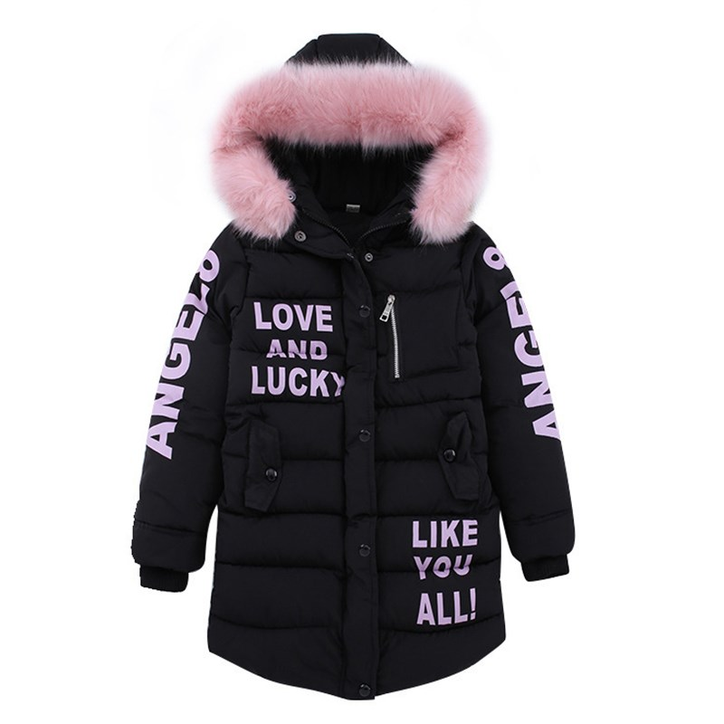 2020 теплая зимняя куртка для девочек, модная детская куртка с капюшоном и искусственным мехом, верхняя одежда для девочек, детская одежда, па...