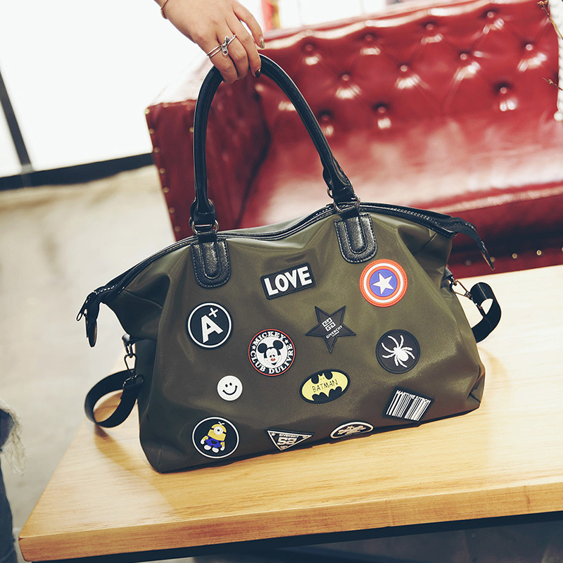 New Creative Oxford Travel Bag Waterproof Portable Large Capacity Shoulder Crossbody Bag Personality Badge Portable Travel Bag