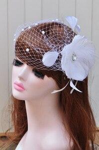 Luksusowy Handmade biały wspaniały spinka do włosów szpilka biżuteria królewski ślubny akcesoria do włosów kwiat siatka z piórkiem welon Cap