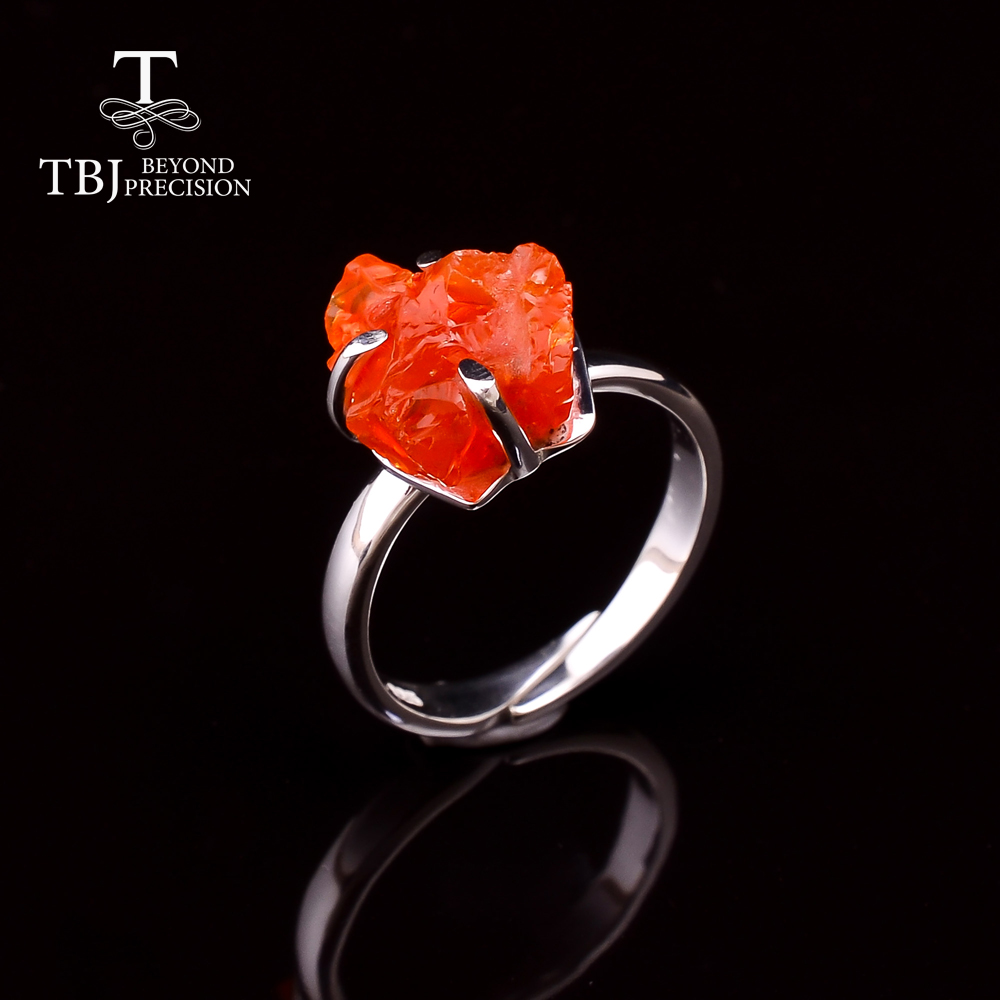 2020 Natural Mexico Fire Opal Ring Handmade Gemstone rough Ring 925 sterling silver fine Jewelry for women birthstone october
