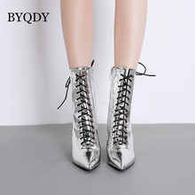BYQDY Autumn Winter Women Ankle Boots Pointed Toe Square High Heel Lace Up Mirror Metallic Pumps Lady Shoes Zipper