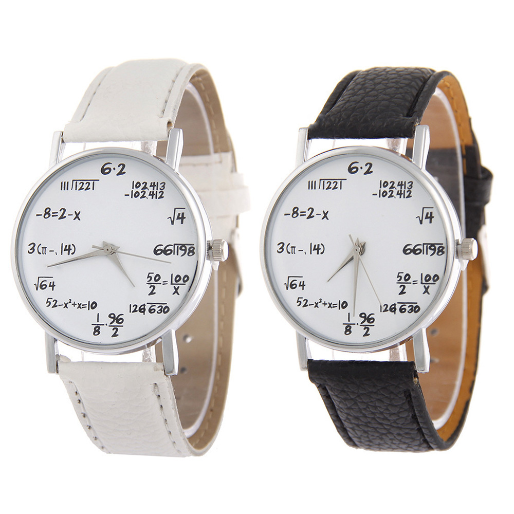 High Quality Hot Push Math Elements Student Watch Trend Geometric Pattern Couple Belt Watch Christmas Gift