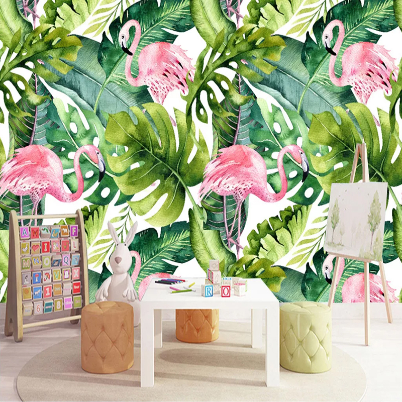 Custom Photo Wallpaper Flamingo Hand Painted Green Leaves Interior Background Wall Living Room Bedroom Mural Modern Wallpaper 3D