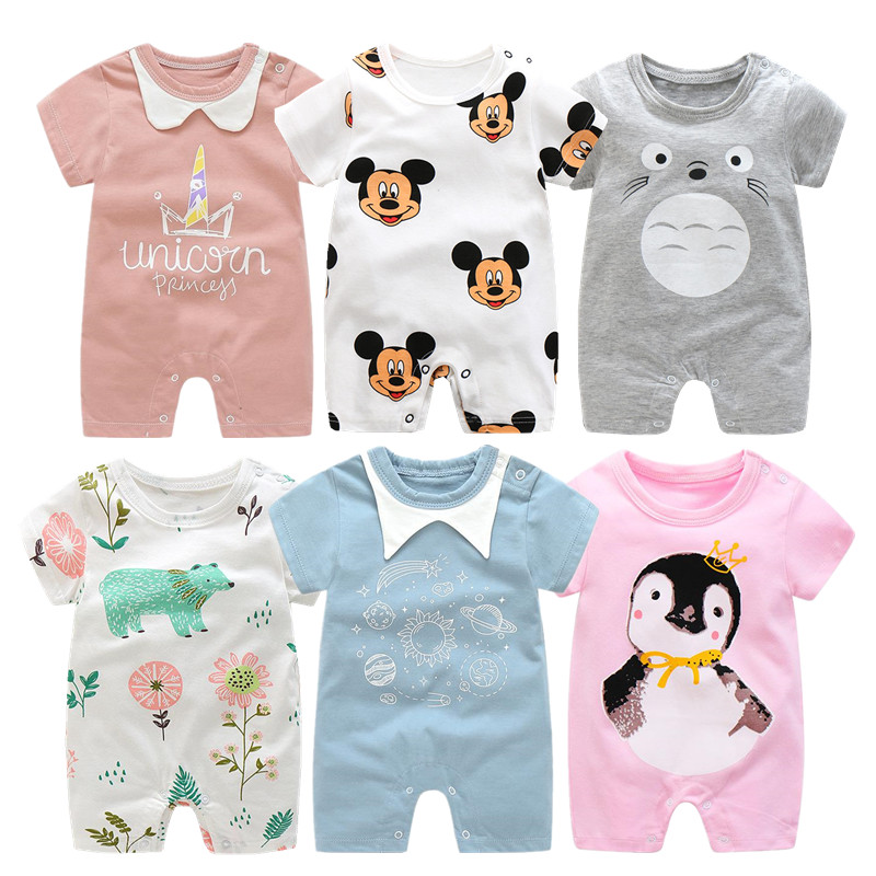2020 Cartoon Anime Short Newborn Baby Clothes Pure Cotton Summer Rompers Kids Baby Girl Jumpsuit Toddler Costume For Boys Romper