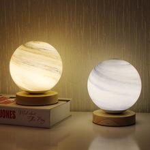 USB ściemnianie szklana planeta LED lampka nocna ciepła Nordic Homestay dekoracja planeta lampa stołowa lampka nocna lampa witrażowa tanie tanio CN (pochodzenie) Łóżko pokój Niebieski W górę iw dół 011702 Szkło Drewna 90-260 v Pokrętło przełącznika Żarówki led