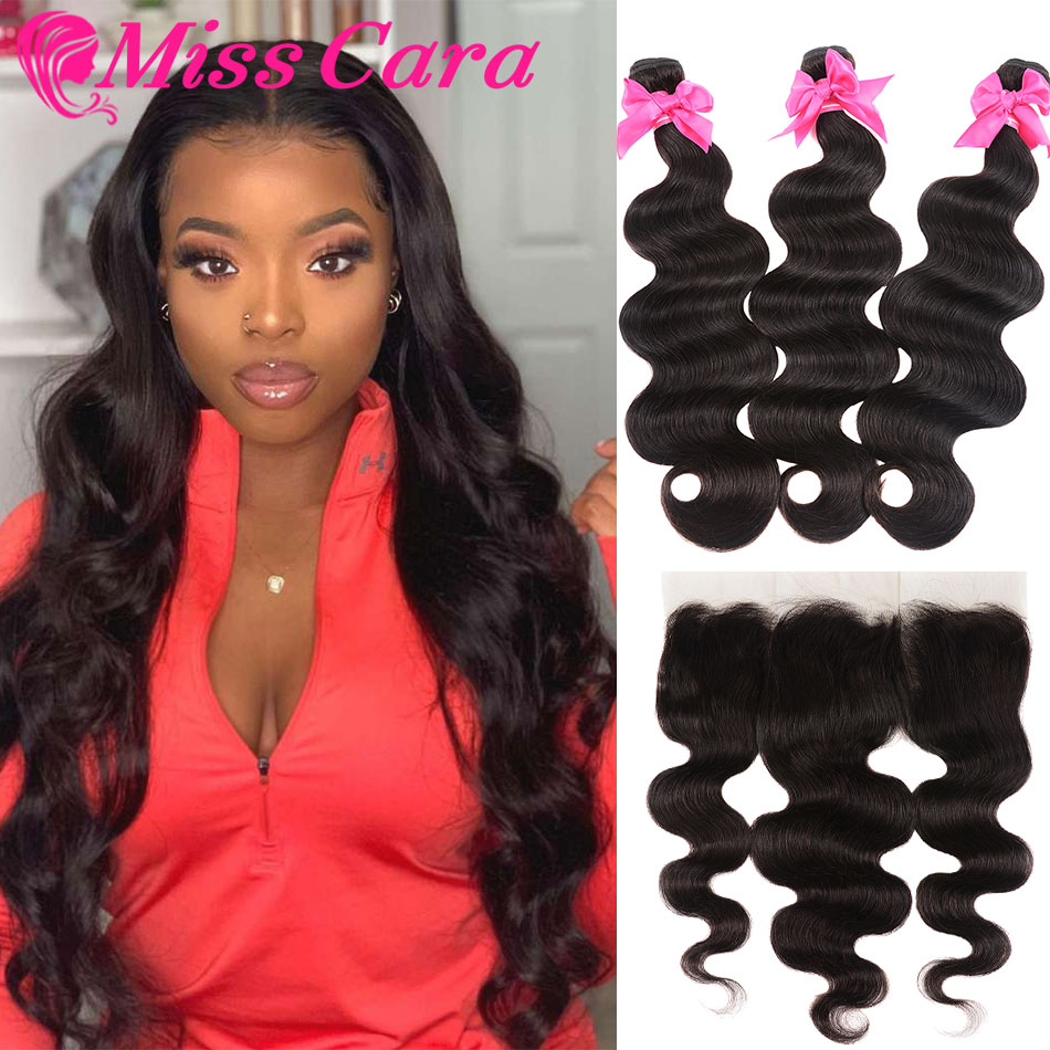 Transparent Lace Frontal With Bundles Peruvian Body Wave Bundles With Frontal 100% Miss Cara Remy Human Hair With Closure