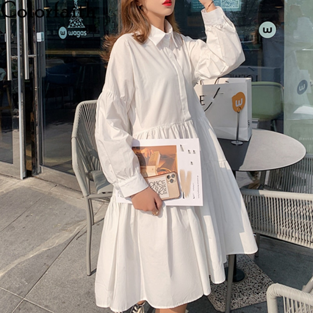 Colorfaith New 2021 Women Spring Shirt Dresses Casual Loose High Waist Fashionable Irregular Pleated Wild White Dress DR1170