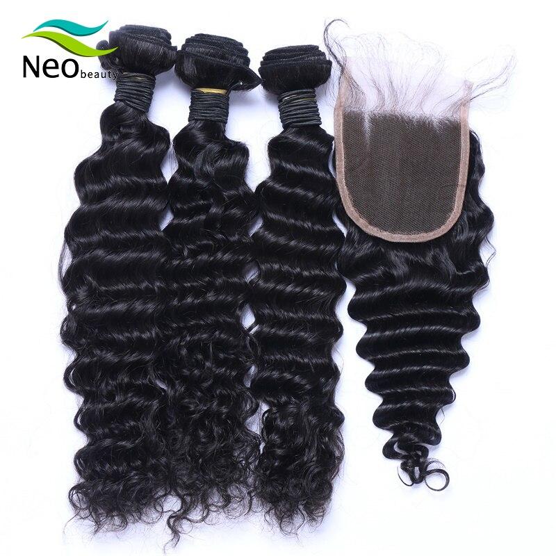 Neobeauty 10A Brazilian Human Hair Deep Wave Bundles With Closure 3pcs / 4pcs