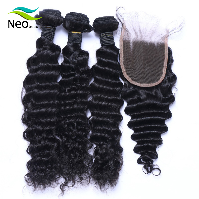 Neobeauty Brazilian Deep Wave Bundles With Closure 10A 3/4 Virgin Human Hair Bundles With Closure Free Shipping