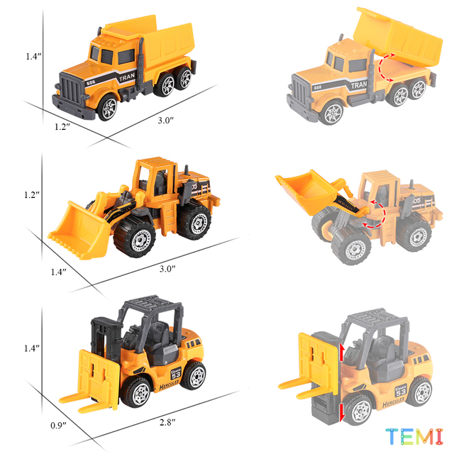 Diecast model Engineering tractor toy car 3 Police& Racing Fire truck Educational Toys trucks for boys children 2 to 4 years old 3