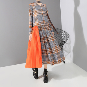 Image 4 - New 2019 Korean Style Women Orange Plaid Long Dress With Tape V Neck Pleated Ladies Stylish Elegant Fashion Dress vestido 5516