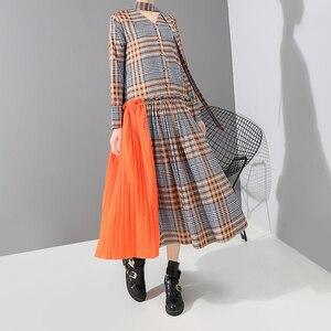 Image 4 - Nouveau 2019 Style coréen femmes Orange Plaid longue robe avec bande col en V plissé dames élégant élégant robe de mode vestido 5516
