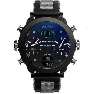 Image 5 - 남자 시계 BOAMIGO 브랜드 3 시간대 군사 스포츠 시계 남성 LED 디지털 석영 손목 시계 선물 상자 relogio masculino