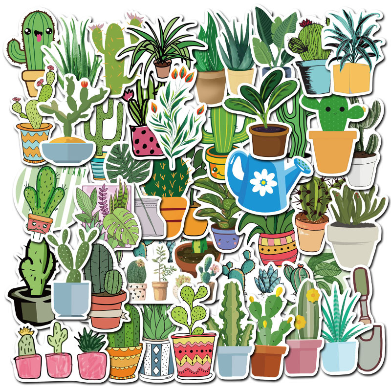 45PCS Potted Plants Cactus Cartoon Sticker Green For Case DIY Luggage Laptop Skateboard Motorcycle Bicycle Decal Stickers F3
