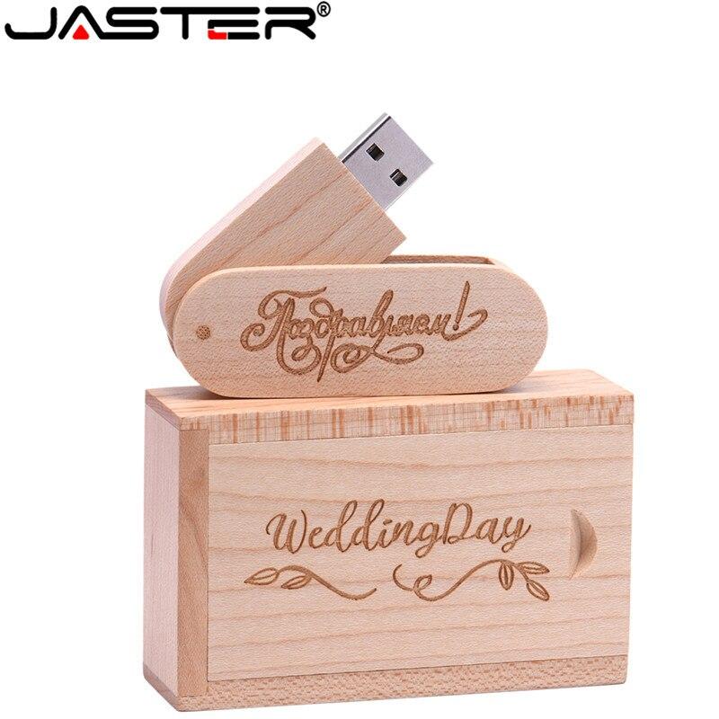 JASTER 5 Model Wooden+box LOGO Photography Print Usb Flash Drive 4GB 8GB 16GB 32GB 64GB Usb 2.0 Gift Usb Flash Drive