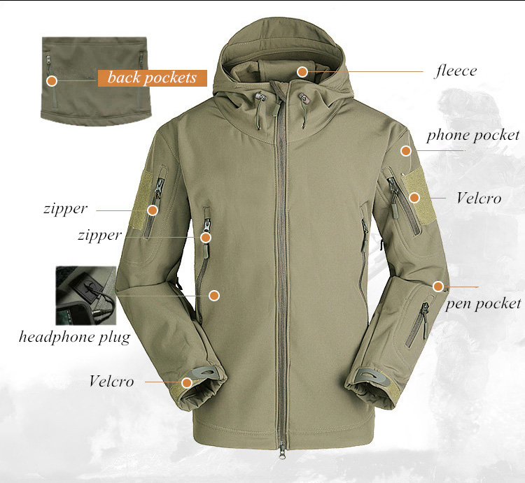 Hiking Army Jackets Men Military Airsoft Camping Tactical Jacket Winter Shark Skin SoftShell Waterproof Jacket Windbreaker