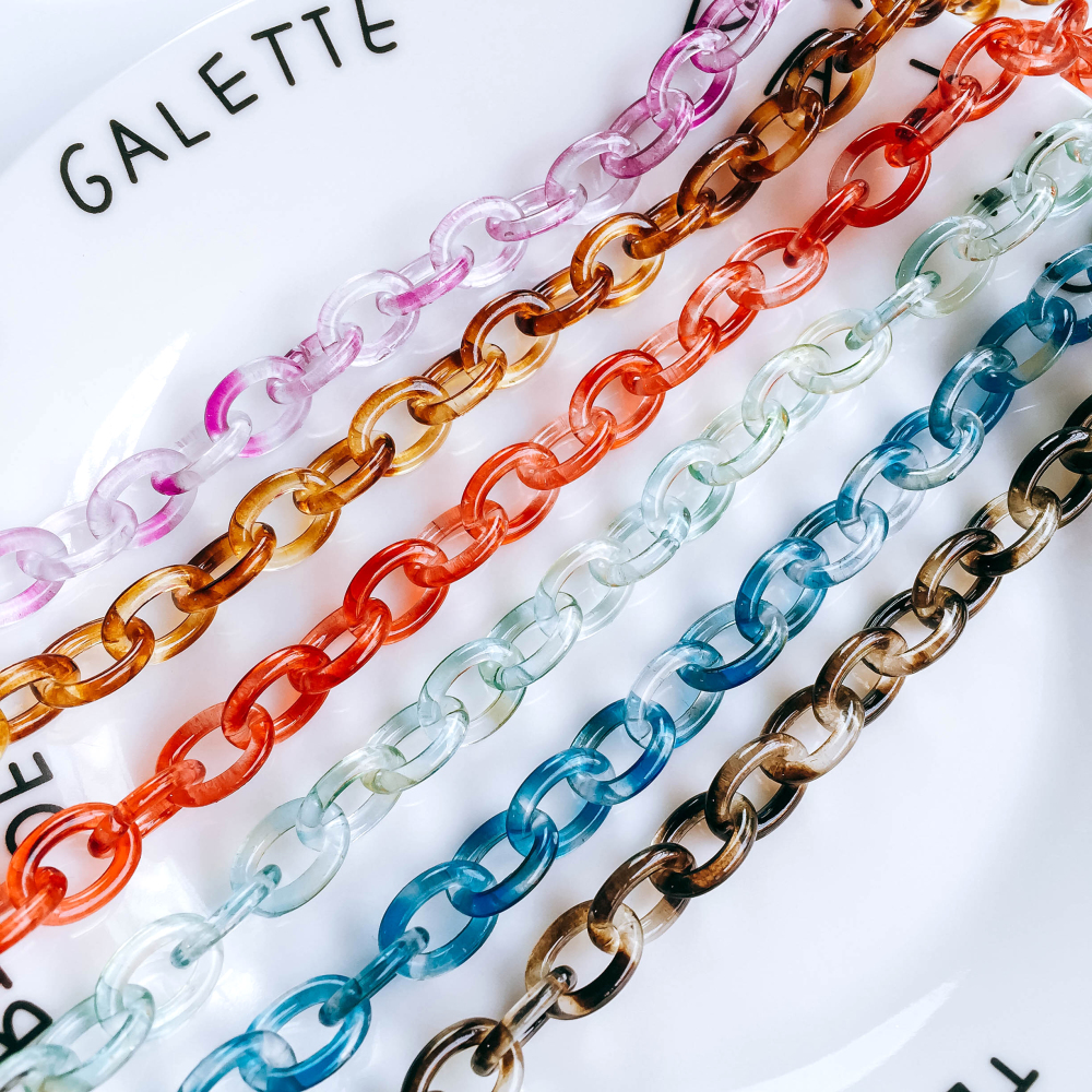 ZEROUP 6 Colors Resin Chain Pendant Necklace Bracelet Charms For Jewelry Finding Diy Handmade Material 50cm 1pcs