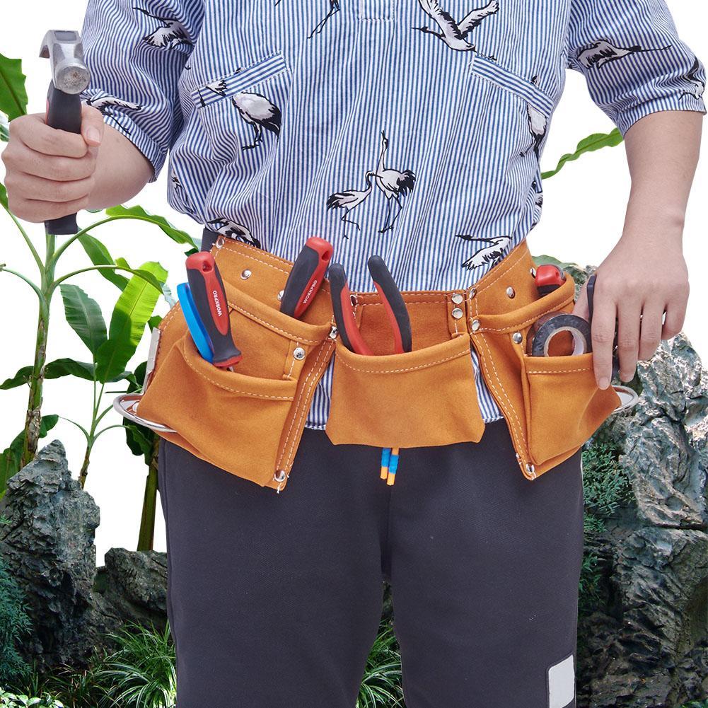 Children Real Leather Tool Belt Work Bag Garden Tools